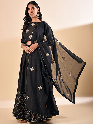 Black Embroidered Silk Cotton Dupatta with Sequin Work