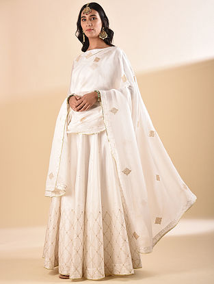 White Embroidered Silk Cotton Dupatta with Sequin Work