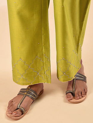 Mustard Elasticated Waist Silk Cotton Embroidered Palazzo with Sequin Work