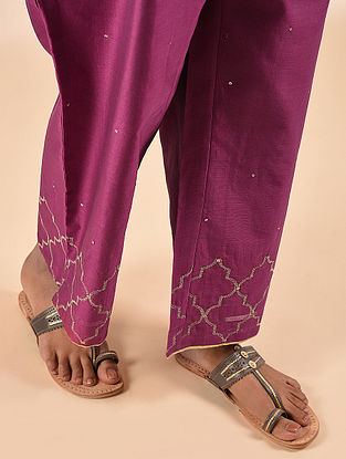 Fuchsia Elasticated Waist Silk Cotton Embroidered Palazzo with Sequin Work