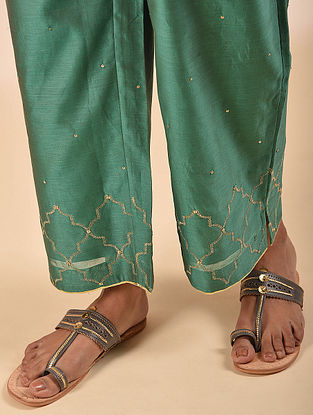Green Elasticated Waist Silk Cotton Embroidered Palazzo with Sequin Work