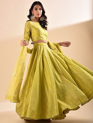 Mustard Embroidered Silk Cotton Lehenga with Sequin Work