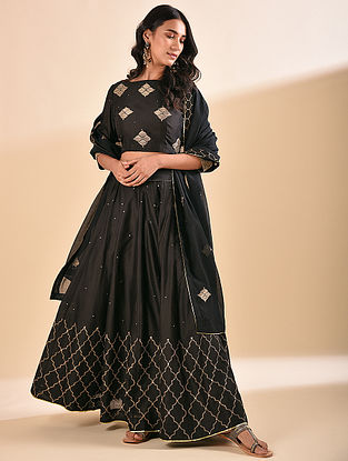 Black Embroidered Silk Cotton Lehenga with Sequin Work