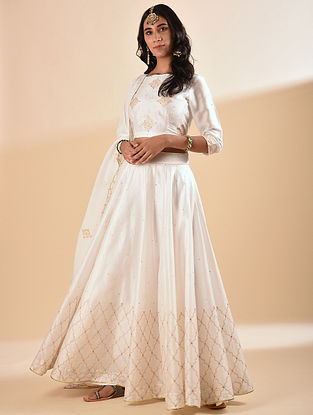 White Embroidered Silk Cotton Lehenga with Sequin Work