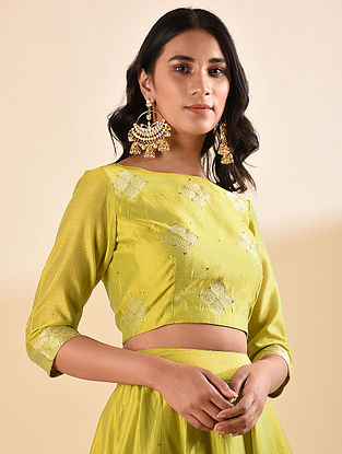 Mustard Embroidered Silk Cotton Blouse with Sequin Work