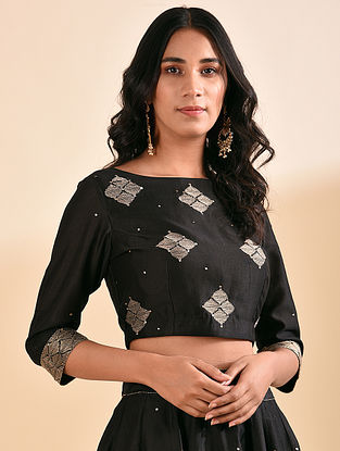 Black Embroidered Silk Cotton Blouse with Sequin Work