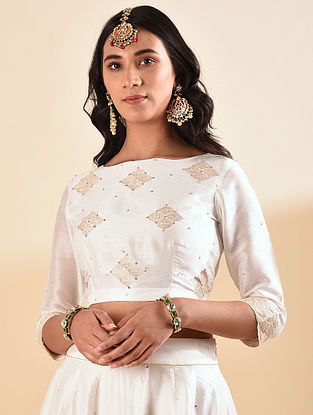 White Embroidered Silk Cotton Blouse with Sequin Work