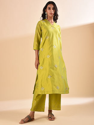 Mustard Embroidered Silk Cotton Kurta with Sequin Work