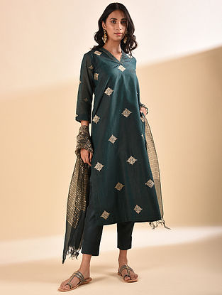 Teal Embroidered Silk Cotton Kurta with Sequin Work