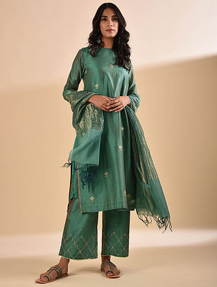 Green Embroidered Silk Cotton Kurta with Crinkled Slip