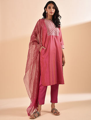 Pink Embroidered Silk Cotton Kurta with Sequin Work