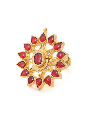 Red Gold Tone Adjustable Silver Ring