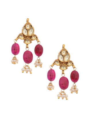 Pink Gold Tone Kundan Silver Earrings with Pearls
