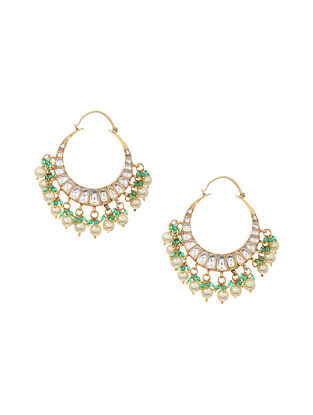 Green Gold Tone Kundan Silver Chandbali Earrings with Pearls