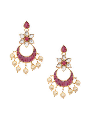 Pink Gold Tone Kundan Silver Chandbali Earrings with Pearls
