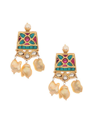Turquoise Pink Gold Tone Kundan Silver Earrings with Pearls