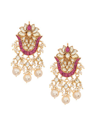 Maroon Gold Tone Kundan Silver Earrings with Pearls