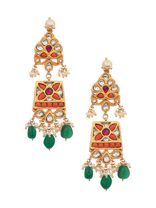 Red Green Gold Tone Kundan Silver Earrings with Pearls
