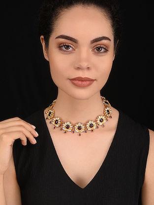 Maroon Gold Tone Kundan Silver Necklace