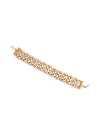 Gold Plated Silver Bracelet with Pearls