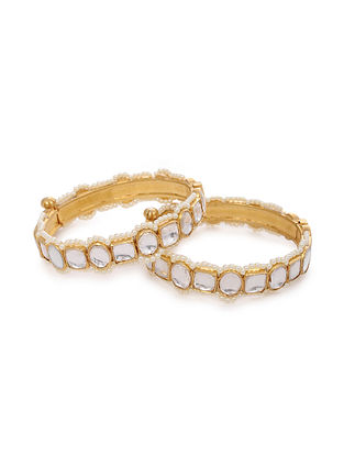 Gold Plated Silver Bangles with Pearls (Set of 2)(Bangle Size: 2/4)