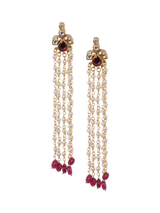 Gold Plated Silver Earrings with Red Onyx and Pearls
