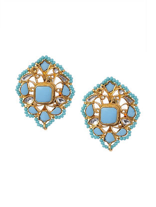 Gold Plated Silver Earrings with Turquoise