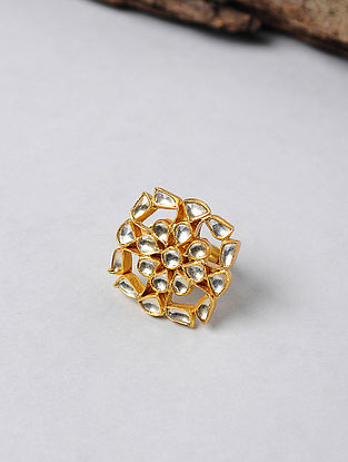 Kundan-inspired Gold-plated Adjustable Silver Ring
