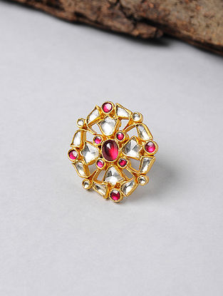 Pink Kundan-inspired Gold-plated Adjustable Silver Ring