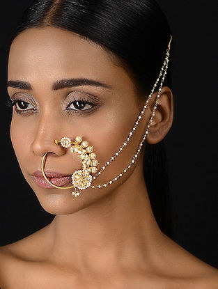 Fresh Water Pearl Kundan-inspired Gold-plated Silver Nath