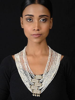Fresh Water Pearl Beaded Kundan-inspired Gold-plated Silver Necklace