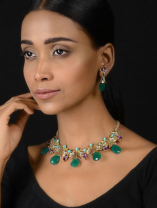 Green Onyx and Amethyst Gold-plated Silver Necklace with a Pair of Earrings (Set of 2)