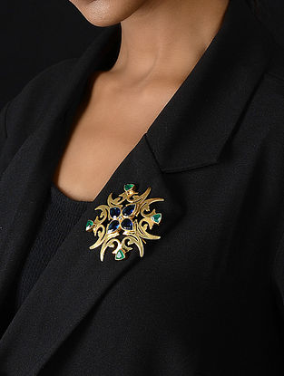 Green Onyx Gold-plated Silver Pendant cum Brooch