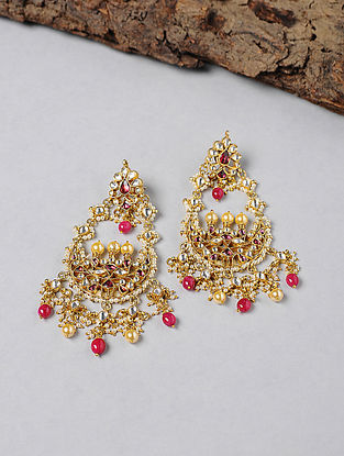 Rhodolite and Garnet Kundan-inspired Gold-plated Silver Earrings