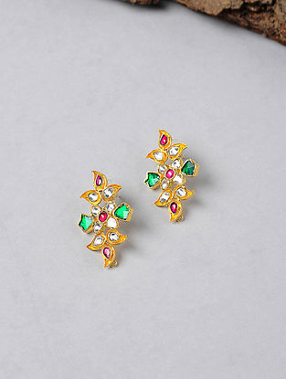 Red-Green Kundan-inspired Gold-plated Silver Earrings