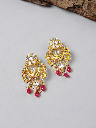Garnet Kundan-inspired Gold-plated Silver Earrings