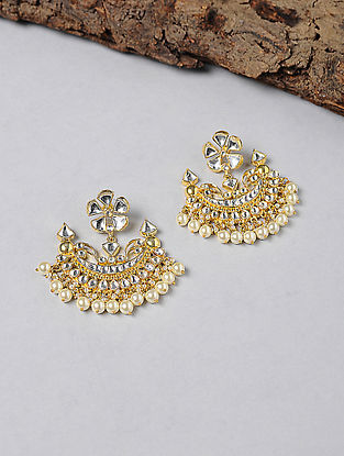 Kundan-inspired Gold-plated Silver Earrings