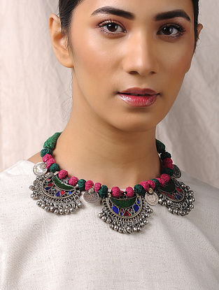 Multicolored Glass Tribal Necklace