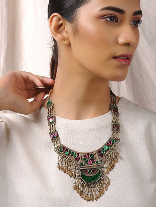 Pink-Green Glass Tribal Necklace