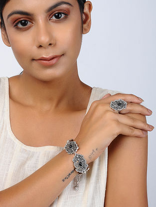 Black Silver Tone Tribal Bracelet and Ring (Set of 2)