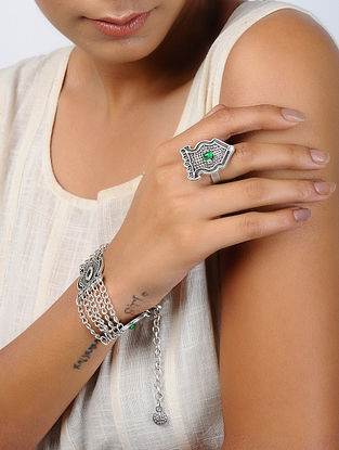 Green Silver Tone Tribal Bracelet and Ring (Set of 2)