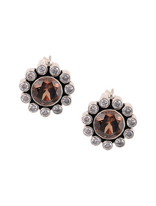 Brown Silver Earrings