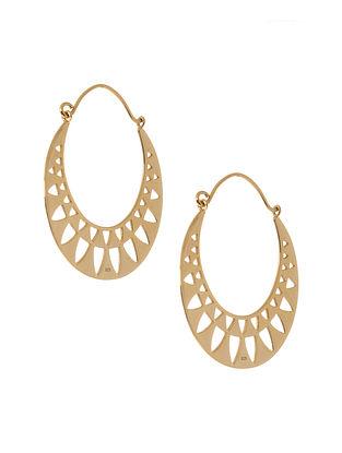 Gold Tone Silver Hoop Earrings