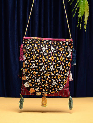 Multicolored Cotton Vintage Textile Bag (12in x 10.5in)