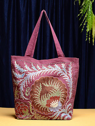 Multicolored Cotton Vintage Textile Bag (17in x 16in)
