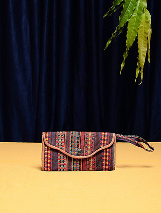 Multicolored Cotton Vintage Textile Bag (7.5in x 4in)