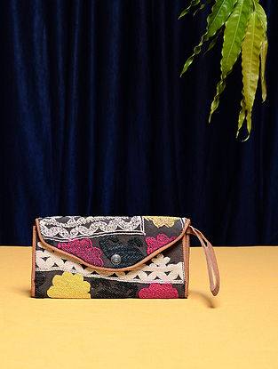 Multicolored Cotton Vintage Textile Bag (8.5in x 4.5in)