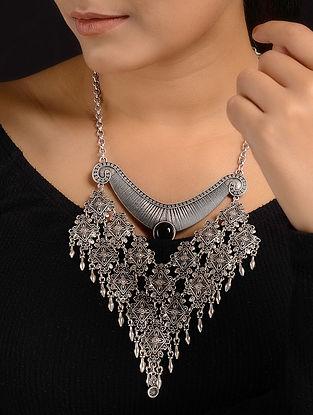 Black Silver Tone Tribal Necklace