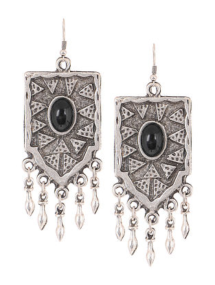 Black Silver Tone Tribal Earrings