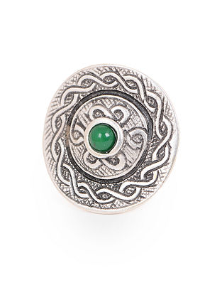Green Silver Tone Adjustable Tribal Ring